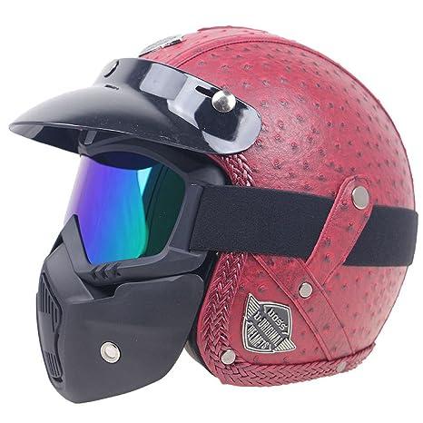 MENUDOWN Casco De Moto De Gama Alta Cascos Cascos De Retro Harley Cascos De Equitación Móviles