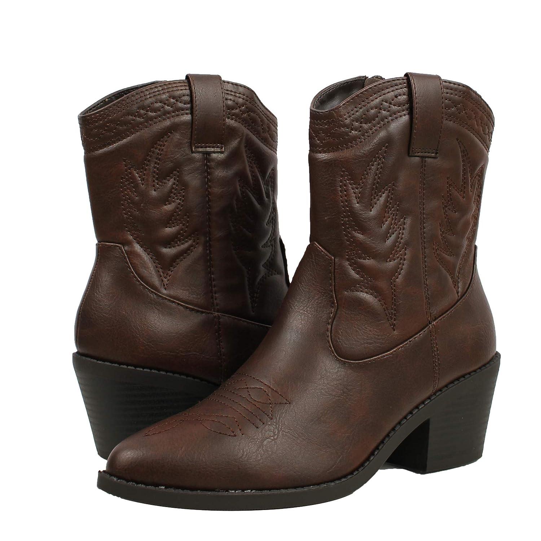 ee3f552a06a Amazon.com   SODA Women's Reno Picotee Western Cowboy Pointed Toe ...