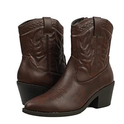 0dd268b207115 SODA Women's Reno Picotee Western Cowboy Pointed Toe Pull On Tabs Boots  (5.5 M US