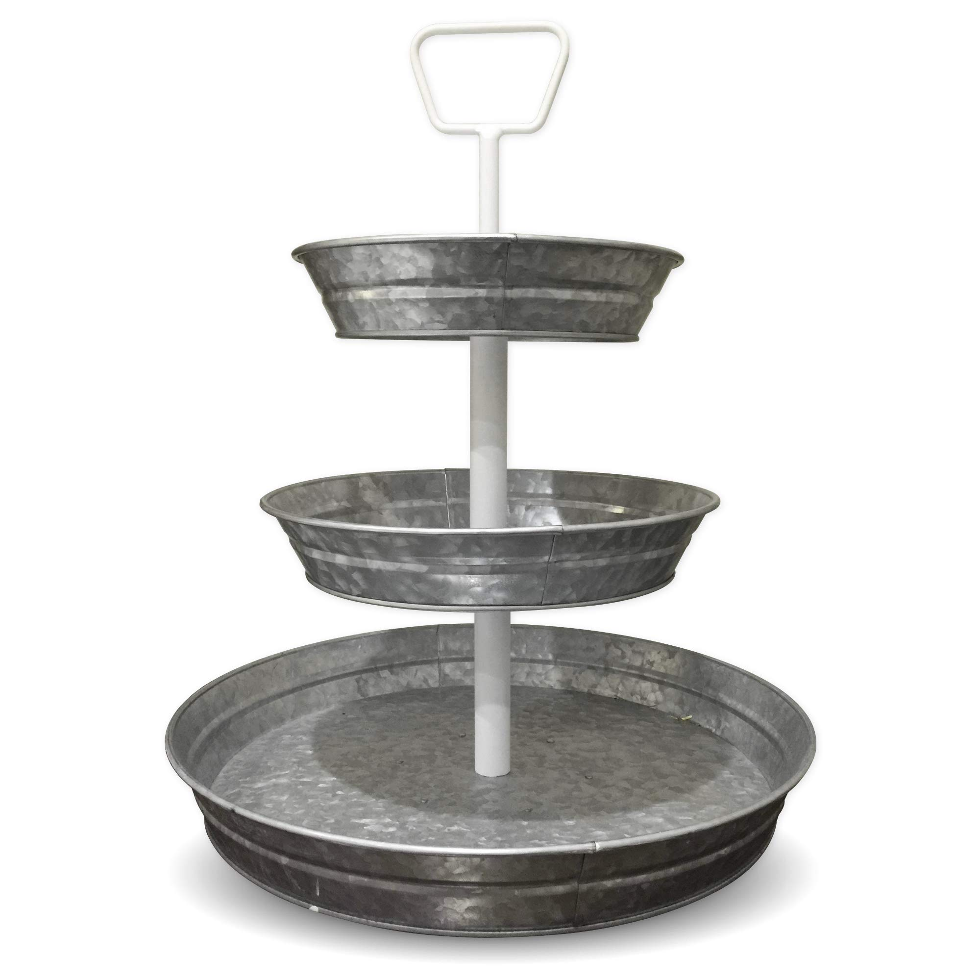 Curly Willow Home Accents 3 Tier Galvanized Round Serving Trays with White Handle