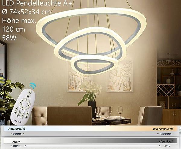 Euroton 2138 3 Ringe LED Pendelleuchte Mit Fernbedienung Lichtfarbe Und  Helligkeit Einstellbar Acryl Schirm