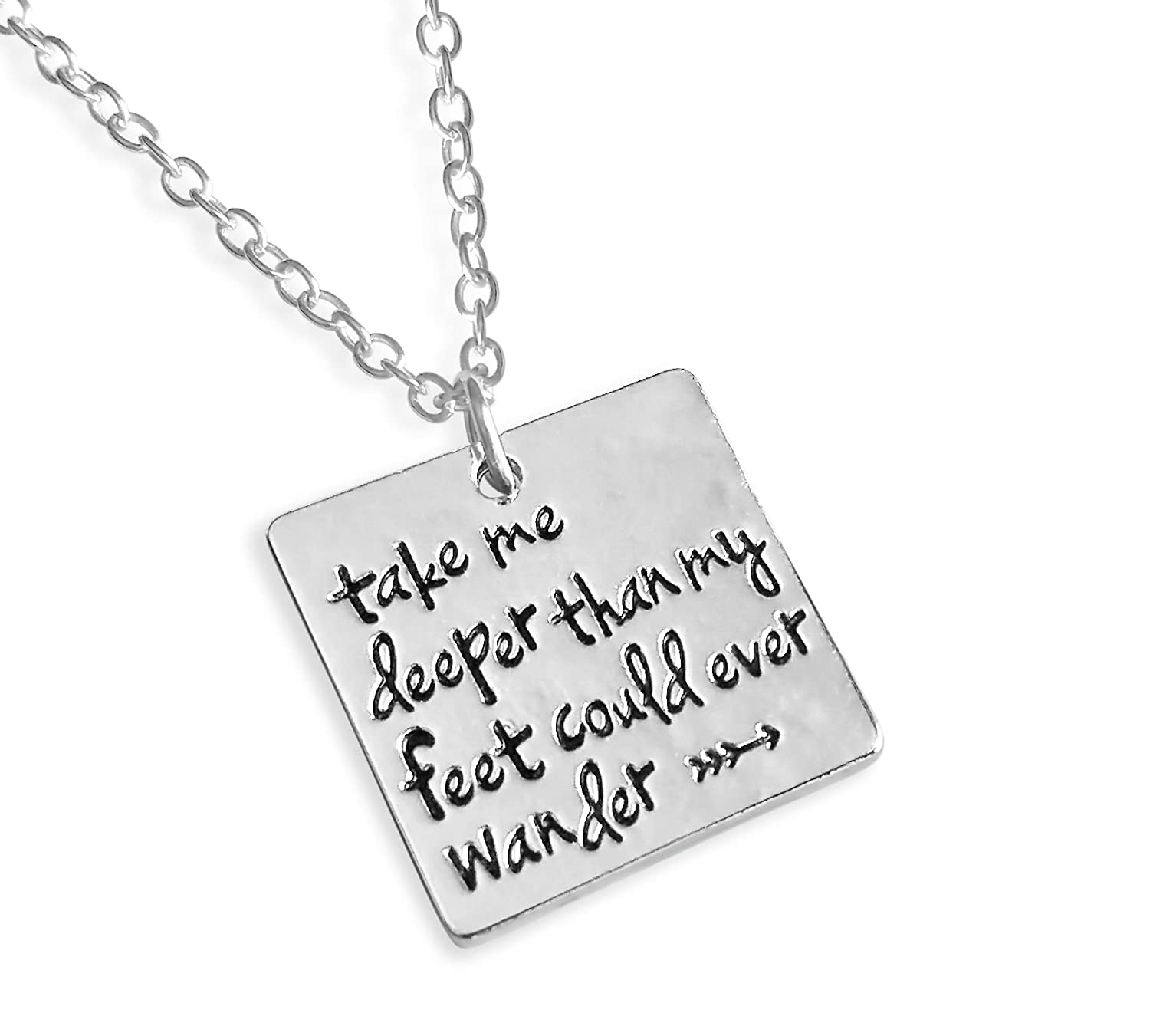 "Rosa Vila ""Take Me Deeper Than My Feet Could Ever Wander"" Necklace - Direction of Life & Enjoy the Journey"