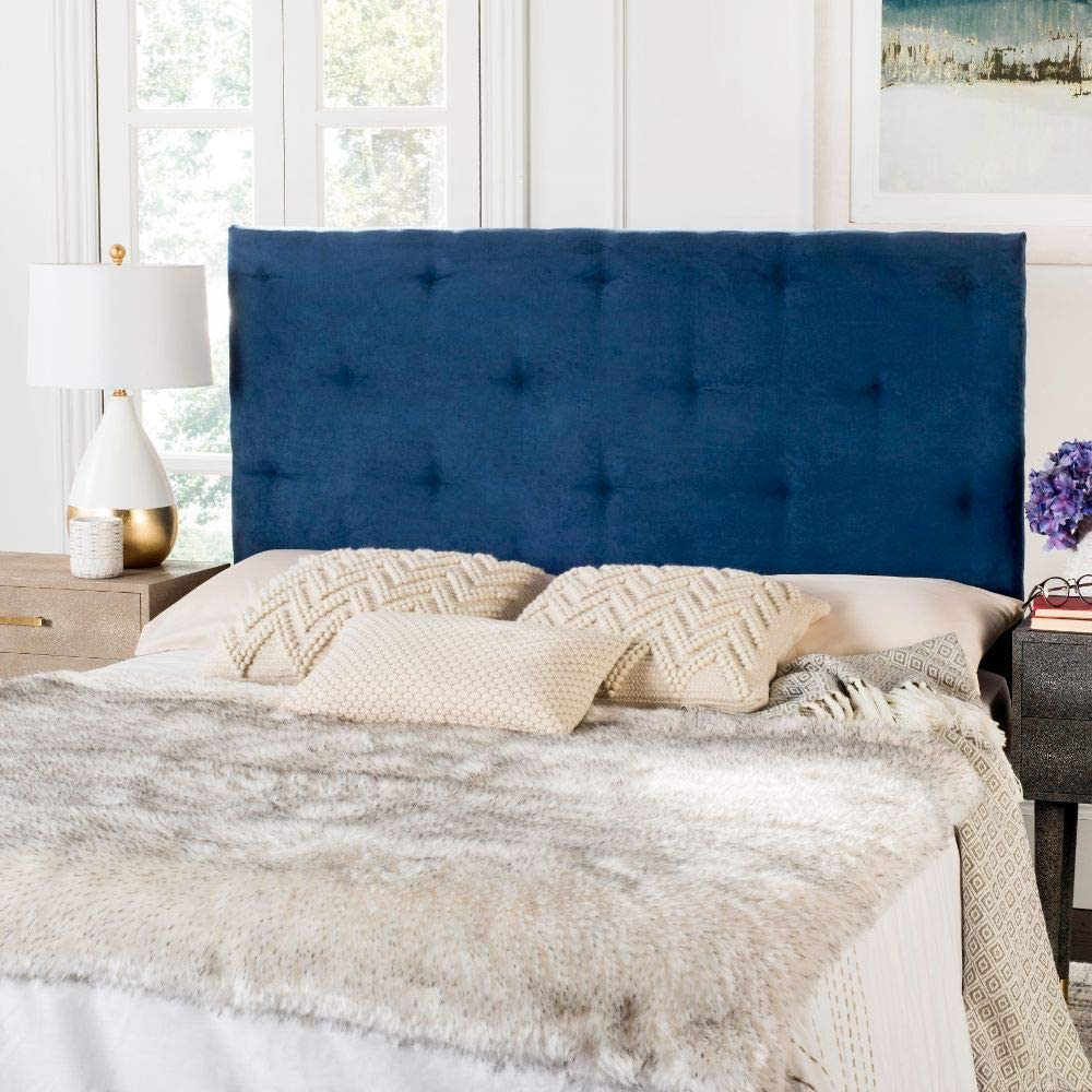 Amazon Com Safavieh Martin Navy Blue Velvet Upholstered Tufted Headboard Queen