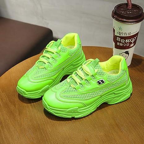 Yuyu19-xie Daddy Zapatos para Mujer con Fondo Grueso Transpirable de Malla para Estudiantes, Verde, 35: Amazon.es: Deportes y aire libre