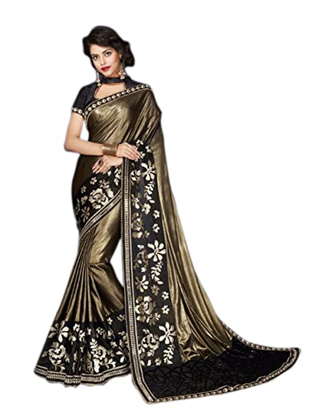 5d8771e26132e0 Shoppingover Bollywood party wear embroidered Saree in Lycra & Net-Black  Color: Amazon.ca: Clothing & Accessories