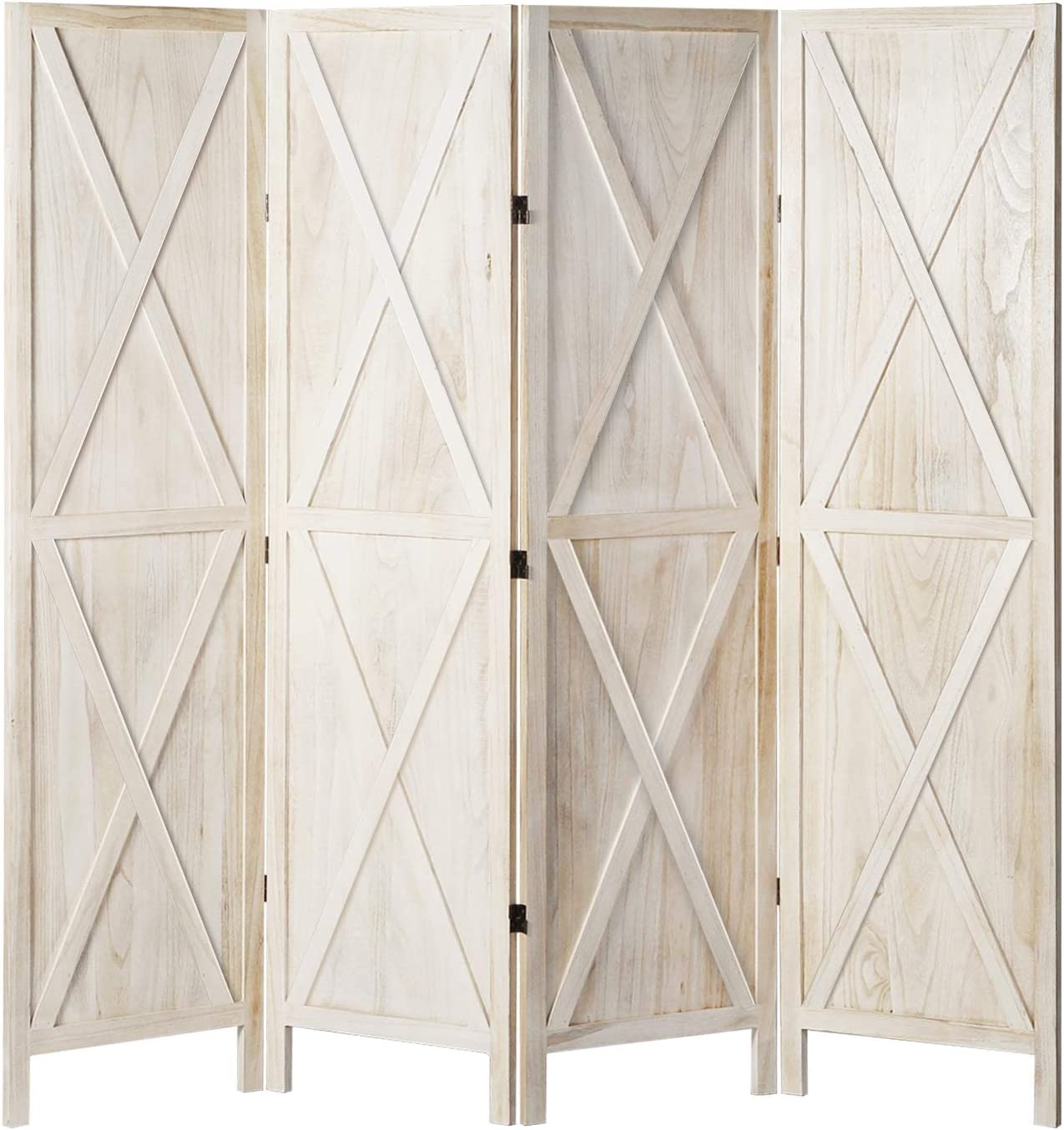 Elegantly Decorated Folding Room dividers,White 4 Living Separator Screen Panel with a Curved Base and Ceiling