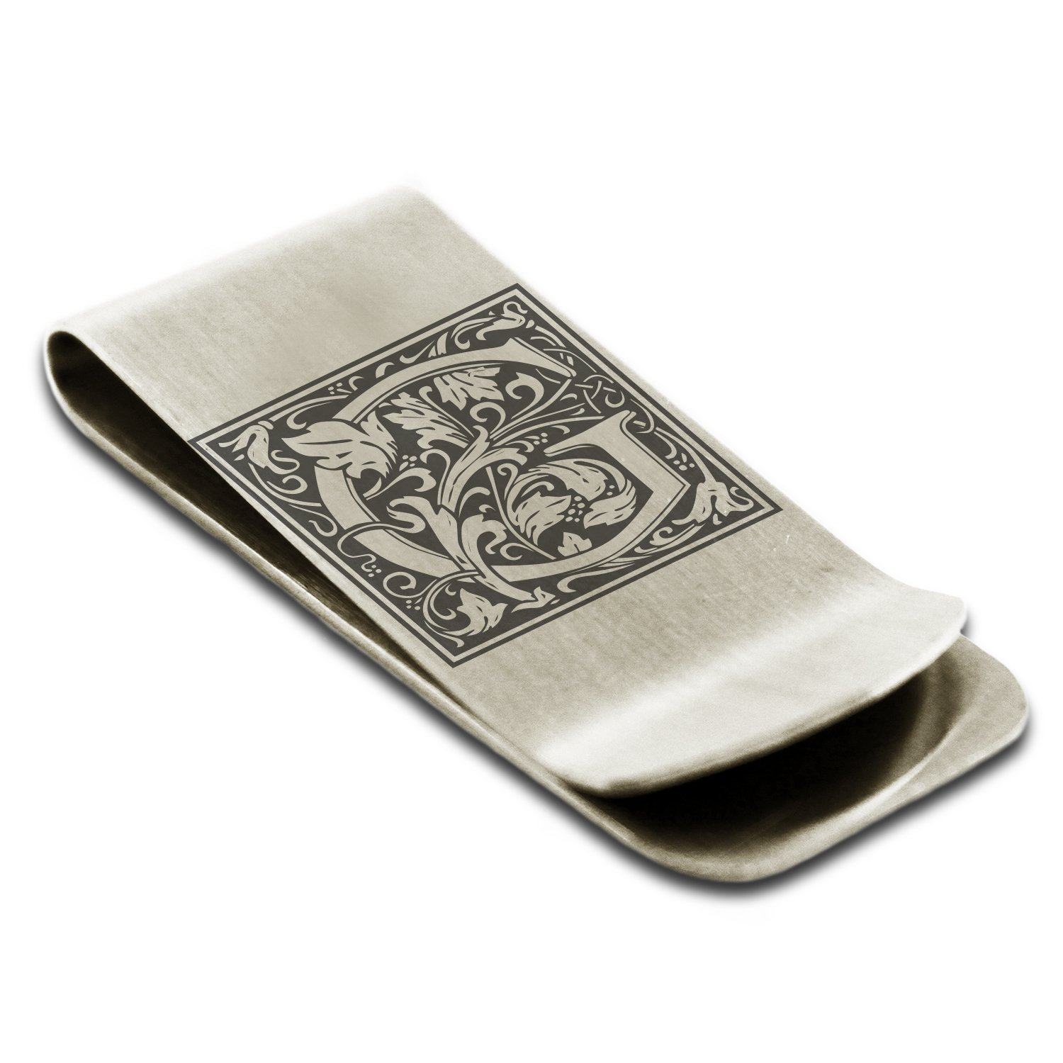 Stainless Steel Letter G Initial Floral Monogram Engraved Money Clip Credit Card Holder Tioneer M001G-ESM004