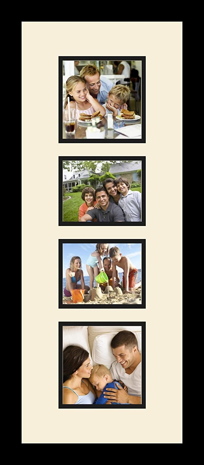 Art to Frames Double-Multimat-278-817//89-FRBW26079 Collage Photo Frame Double Mat with 2-4x5 5x5 Openings and Satin Black Frame