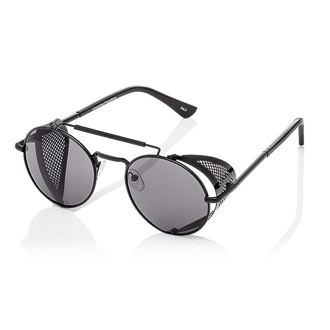 a57559ecf5 Ultra Armazón Negro Con Lentes Negros Gafas de Sol Steampunk Gafas Retro  Mujeres Hombres Años 50