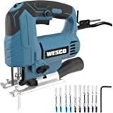 WESCO Power Jigsaw Tool, 4.5 Amp 3000 SMP Corded Jig Saw, Variable Speed, 10 Blades for Wood/Metal/Aluminum/PVC/Ceramic…