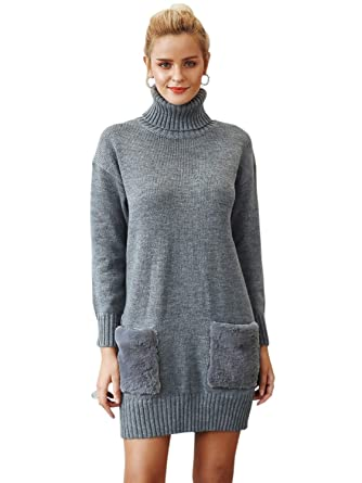 Terryfy Damen Minikleid Elegant Vintage Strickkleid Dress Pelz Lockeres  Kleid Lang Sweatshirt mit Tasche  Amazon.de  Bekleidung 7ce9b8f3d7