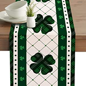 """Seliem St. Patrick's Day Table Runner, Green White Buffalo Plaid Check Shamrock Table Dresser Scarf Home Kitchen Clover Decor, Farmhouse Dining Decorations Party Supplies 13"""" X 72"""""""