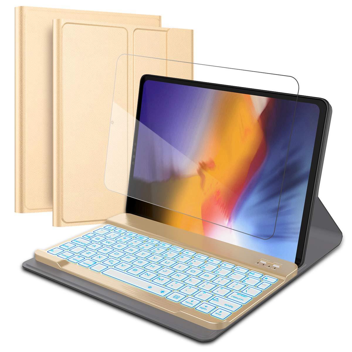 iPad Pro 11インチ2018キーボードケース ワイヤレスレザーキーボードケース 超薄型ポータブル軽量タブレットプロテクターキーボード iPad Pro 11インチ2018用   B07LF7PZWR