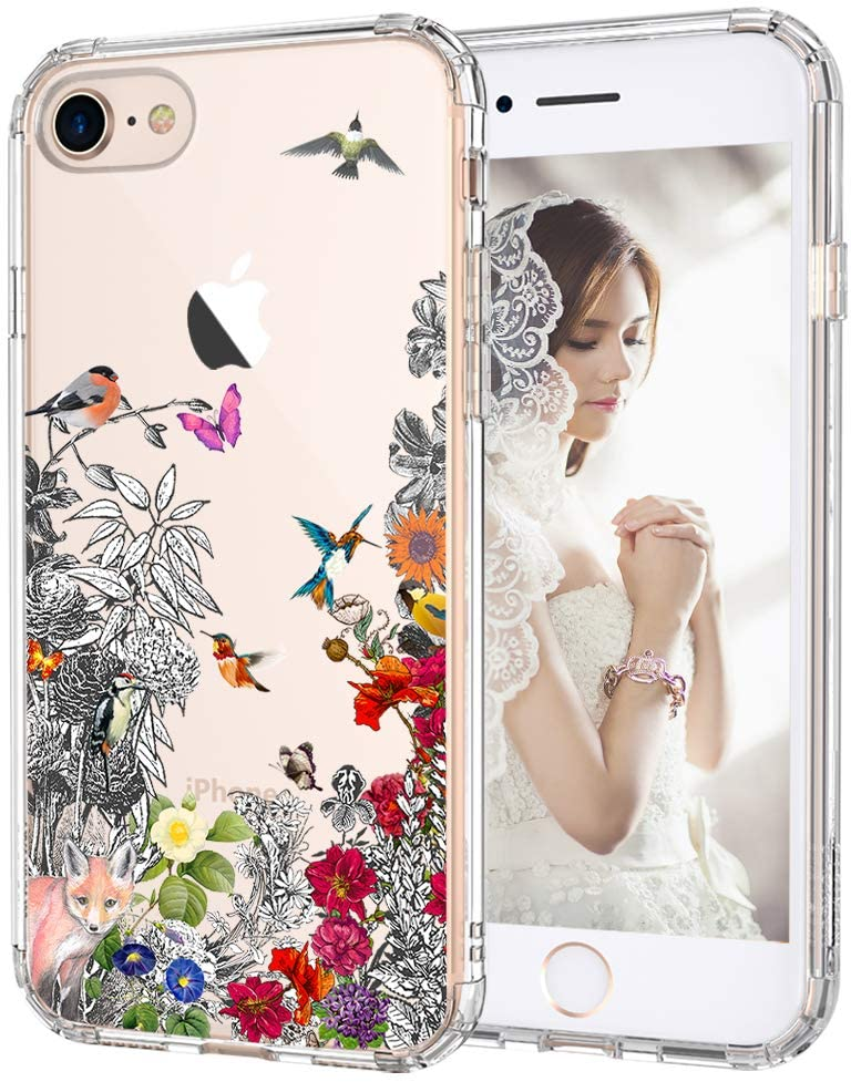 MOSNOVO iPhone SE 2020 Case, iPhone 7 Case, iPhone 8 Case, Floral Humming Bird Clear Design Transparent Hard Back Case with TPU Bumper Shockproof Case Cover for iPhone 7 / iPhone 8 / iPhone SE 2020