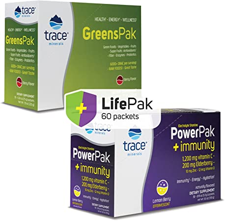 Trace Minerals Electrolyte Stamina Power Pack Immunity and Greens Pak Berry, Best Value Health Pack of 2, More Zinc and Vitamin D, Your Daily Supplement for Energy & Immune Boost, Non-GMO, 30ct Each