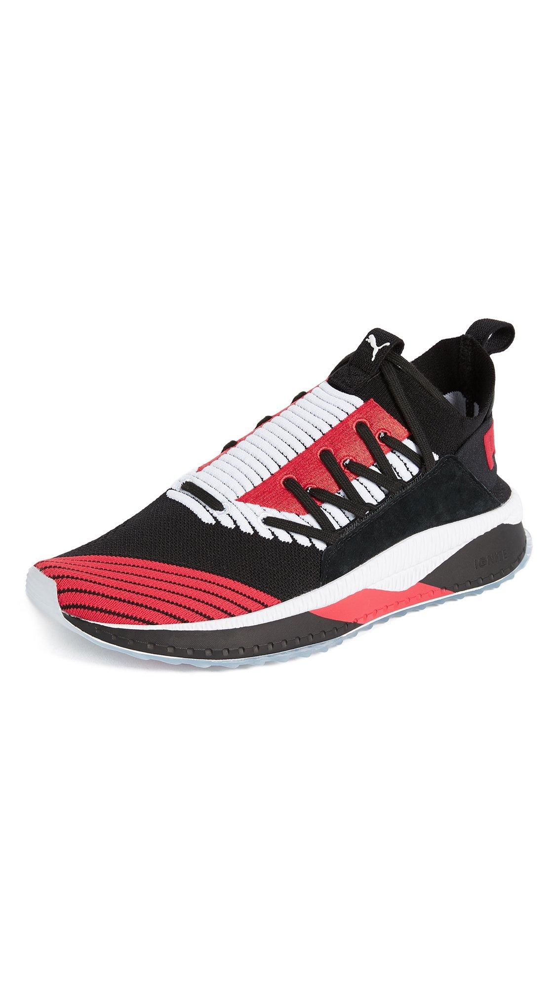 PUMA Select Men's Tsugi JUN Cubism Sneakers, Black/White/Flame, 9.5 D(M) US
