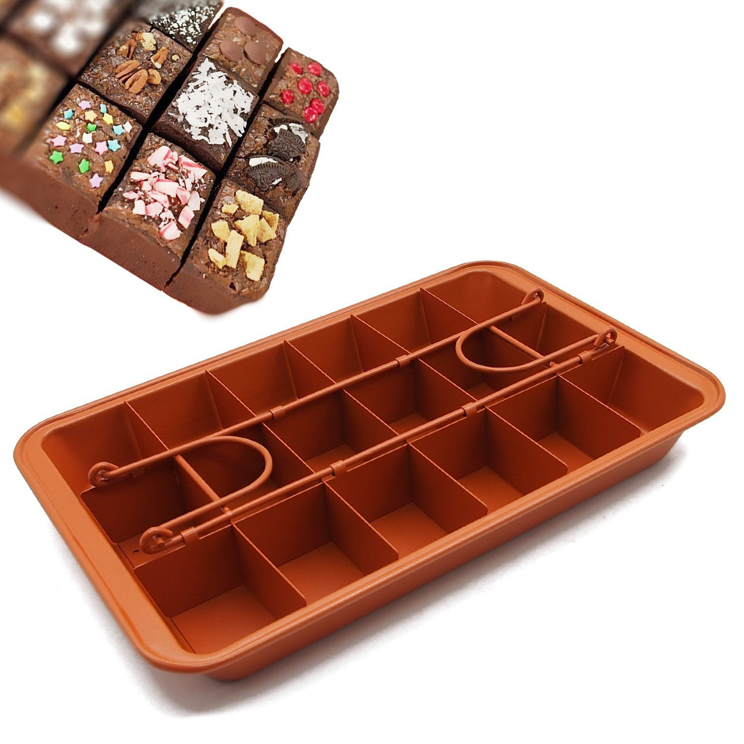 Non-stick Chocolate Brownie Pan with Dividers, 18-cavity Rectangle Bakeware with Removable Loose Bottom, Heavy-duty Built-In Slicer Brownie Tray - 12.20'' x 7.87'' x 1.57''