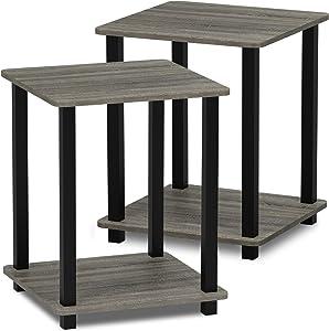 Furinno Simplistic End Table, French Oak Grey/Grey