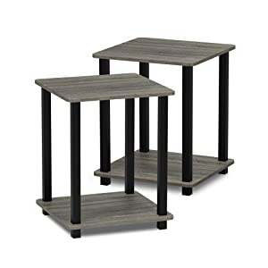 Furinno 12127GYW/BK Turn-S-Tube End Table 2-Pack French Oak Grey/Black