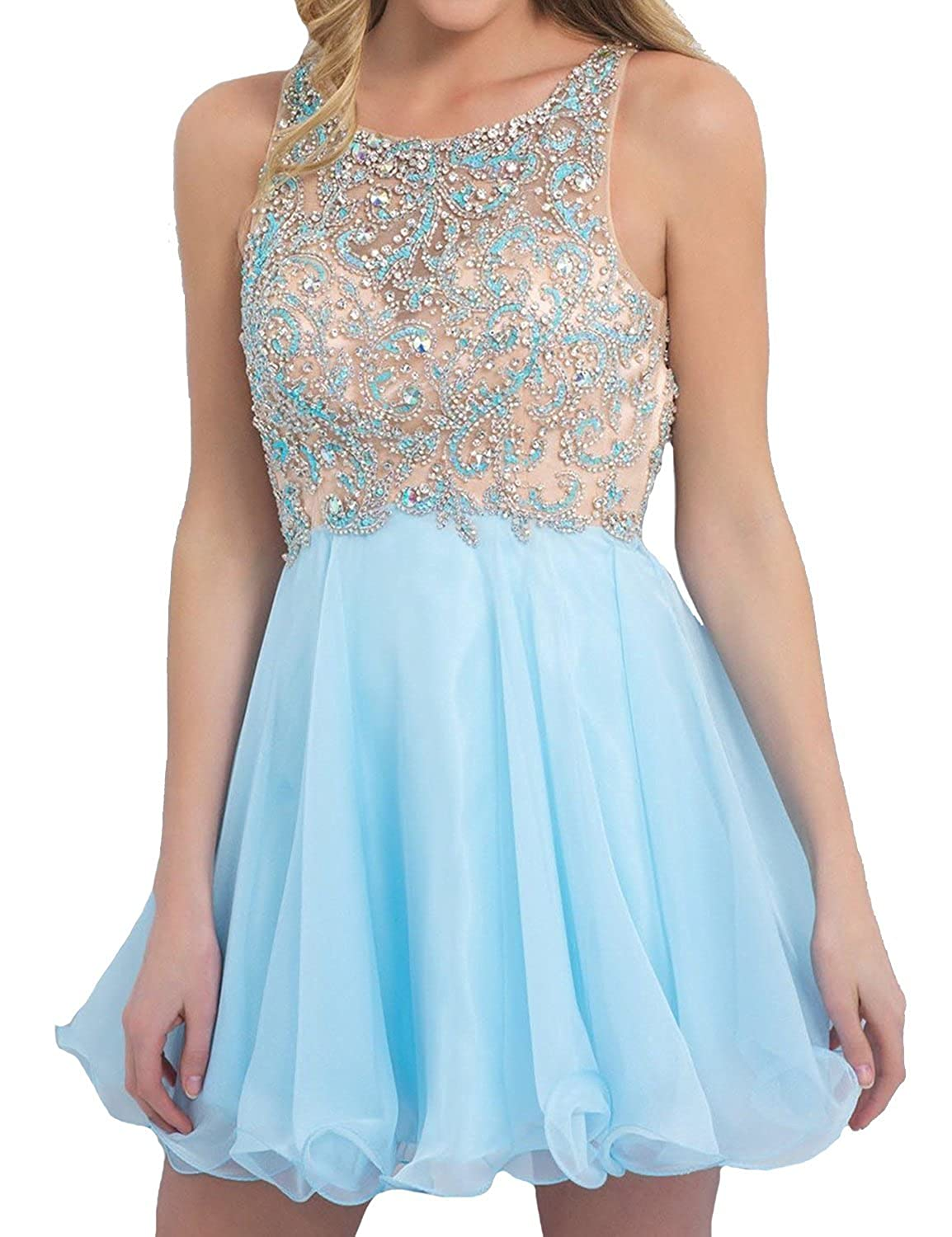 Fanciest Women's Beaded Short Homecoming Dresses 2016 Cocktail Party Dress