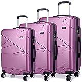 "Kono Designer Light Weight Hardshell 4 spinner wheels Travel Trolley Suitcase Luggage 3 Piece Set/ 20'' inch Cabin Size (20""+24""+28"", Purple)"