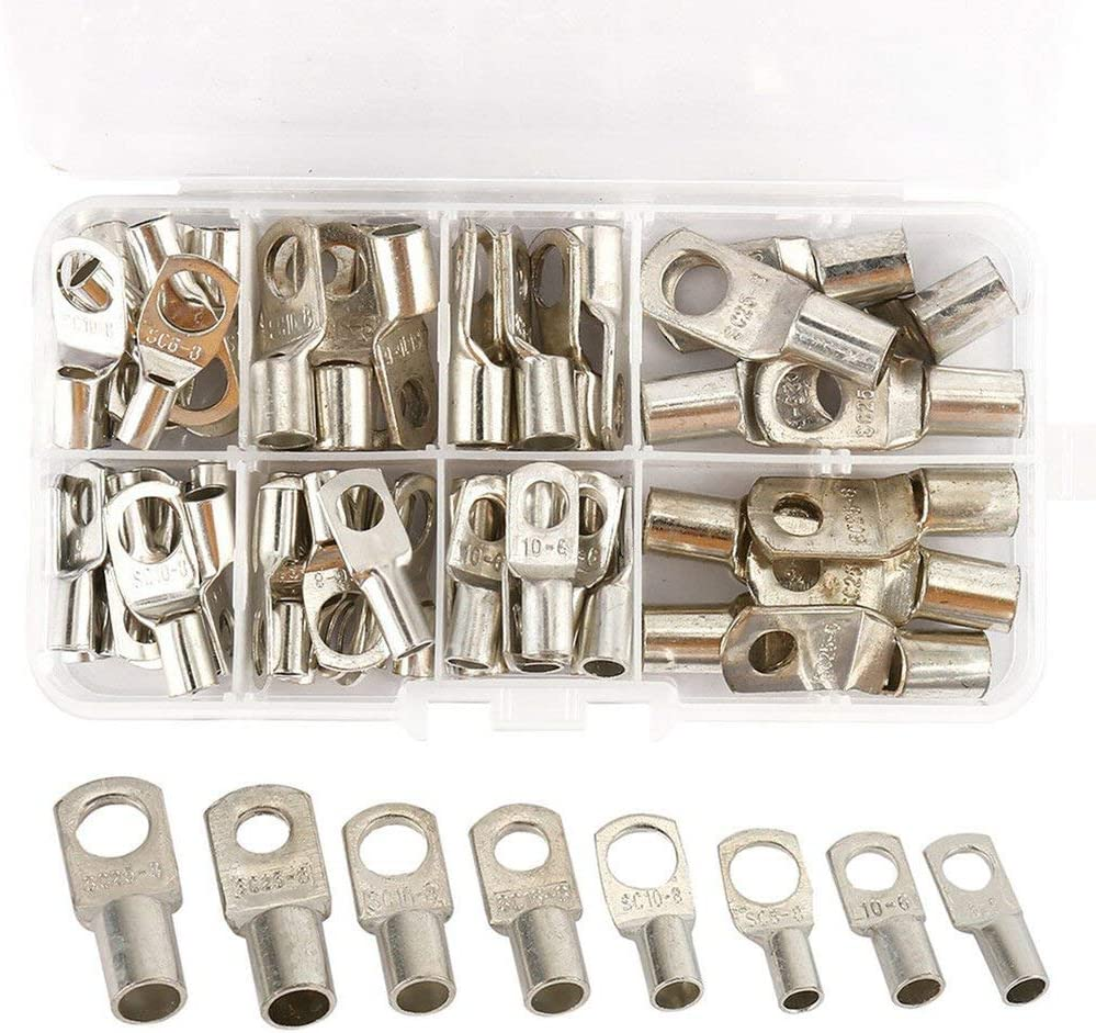 Maidodo Lot de 60 cosses de c/âbles en cuivre /étam/é avec trou de boulon /électrique cosses SC pour automobile marine