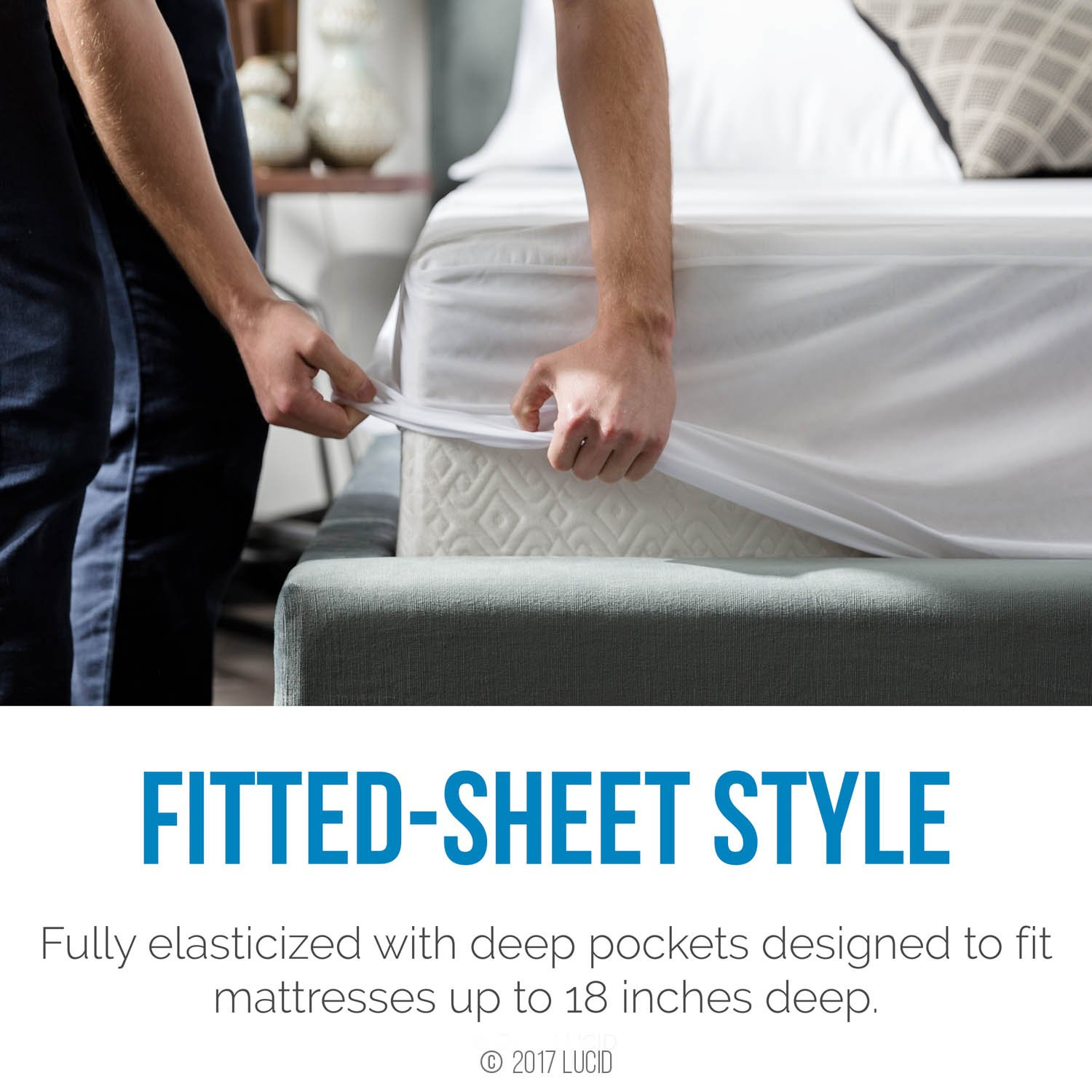 Waterproof Dust Mite Proof King LUBJKKMP Ultra Soft LUCID Premium Rayon from Bamboo Jersey Mattress Protector Hypoallergenic