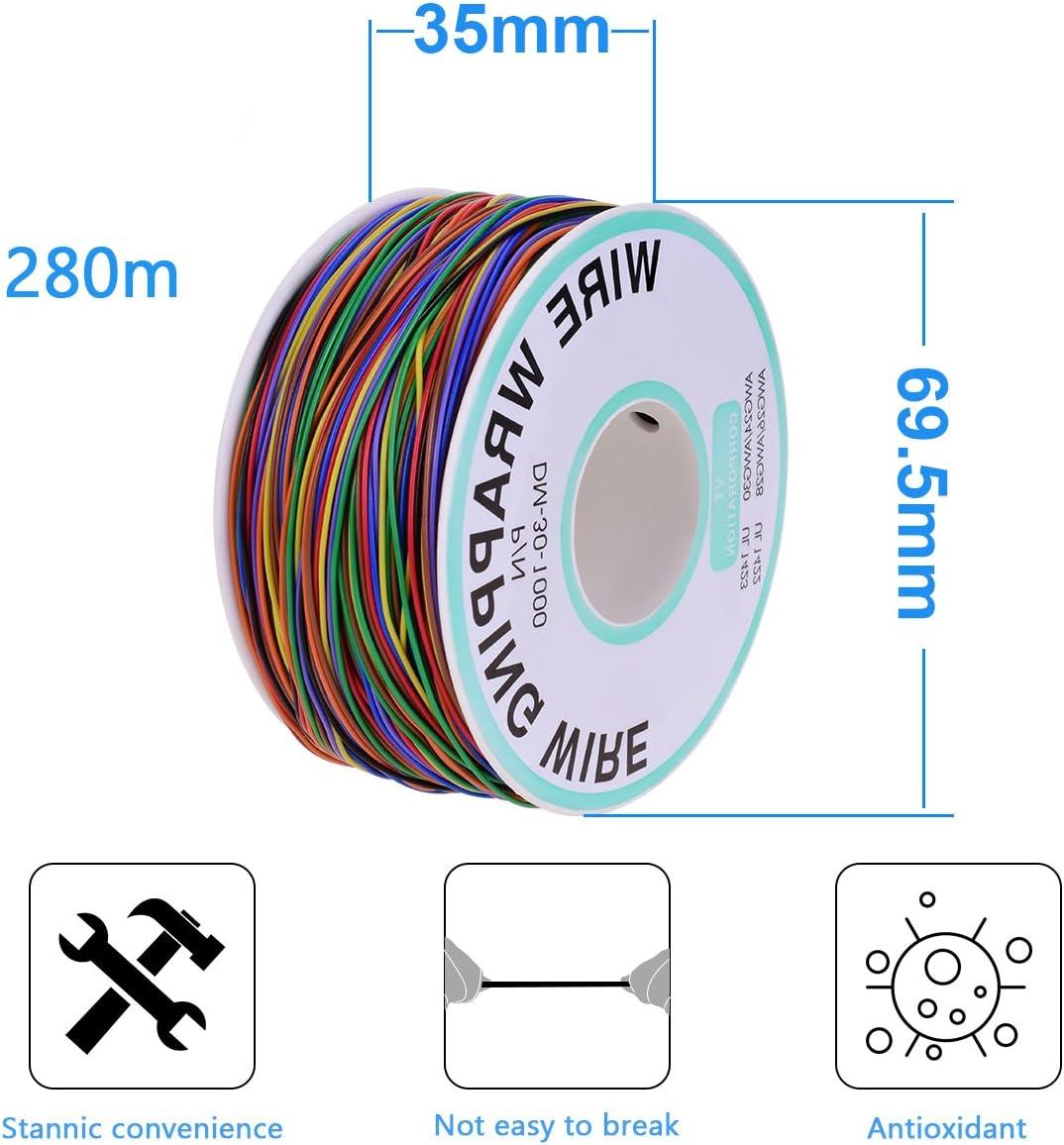YoungRich 8 Couleur C/âble Electrique de Cuivre Etam/é Isolant en PVC 30AWG Fil /Électrique Cuivre Solide avec 280m Longueur pour Le Test Electronique de Carte M/ère Dordinateur Portable