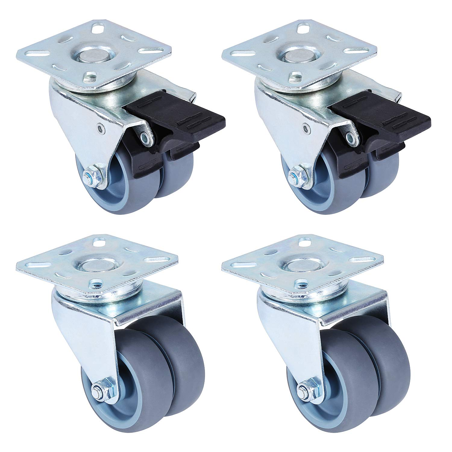 """FEMOR 2"""" Swivel Caster Wheels Heavy Duty Locking Casters Set of 4 with 2 Brakes Replacement Casters for Furniture Carts Dolly Workbench Trolley"""