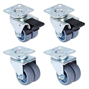 """Femor 2"""" Swivel Caster Wheels, Heavy Duty Locking Casters Set of 4 with 2 Brakes, Replacement Casters for Furniture, Carts, Dolly,Trolley- 120 Lbs Per Caster"""