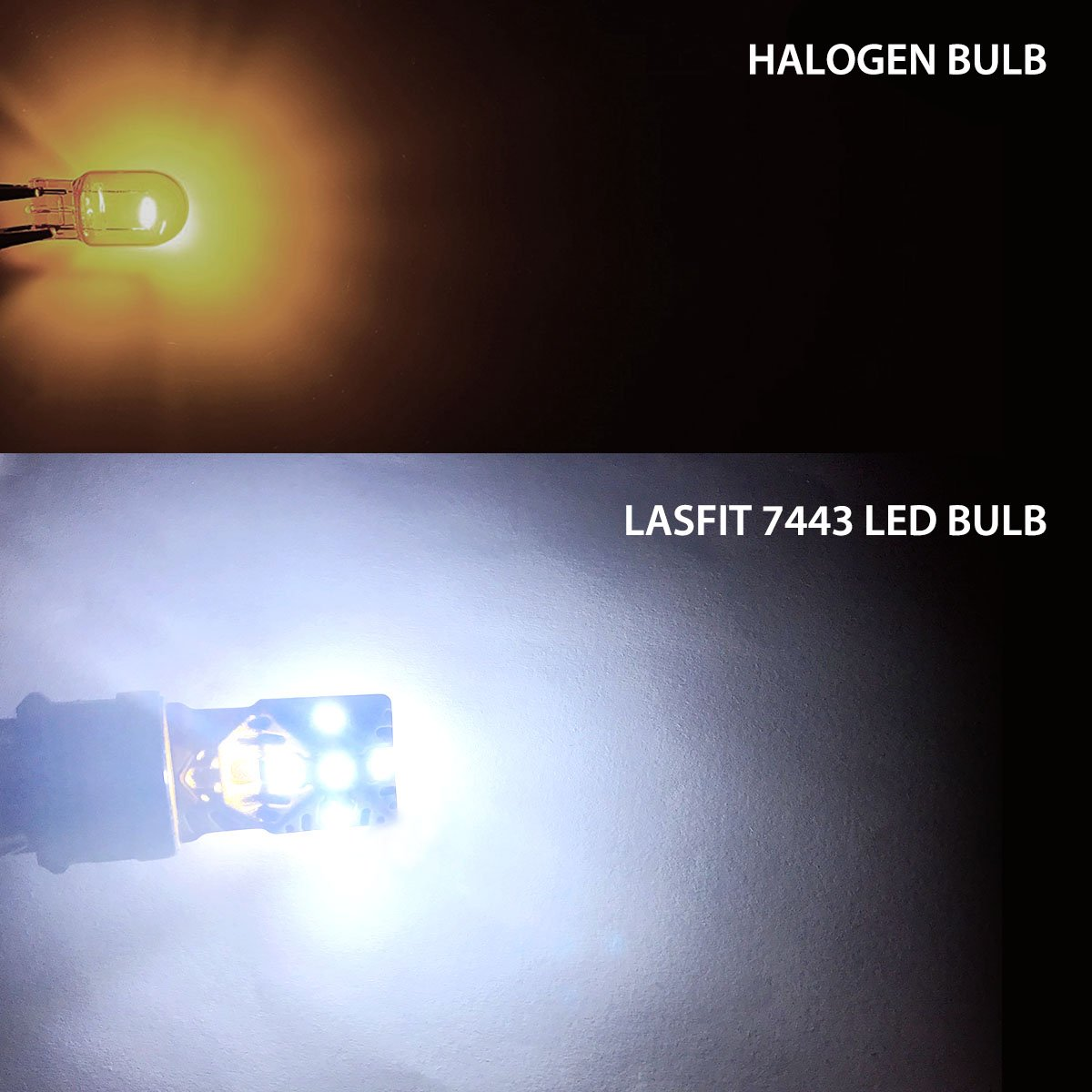 LASFIT 7443 7440 992 T20 LED Bulbs Polarity Free 6000K Super Bright Use for Back Up Reverse, Daytime Running, Parking Lights, Xenon White (Pack of 2) by LASFIT (Image #3)