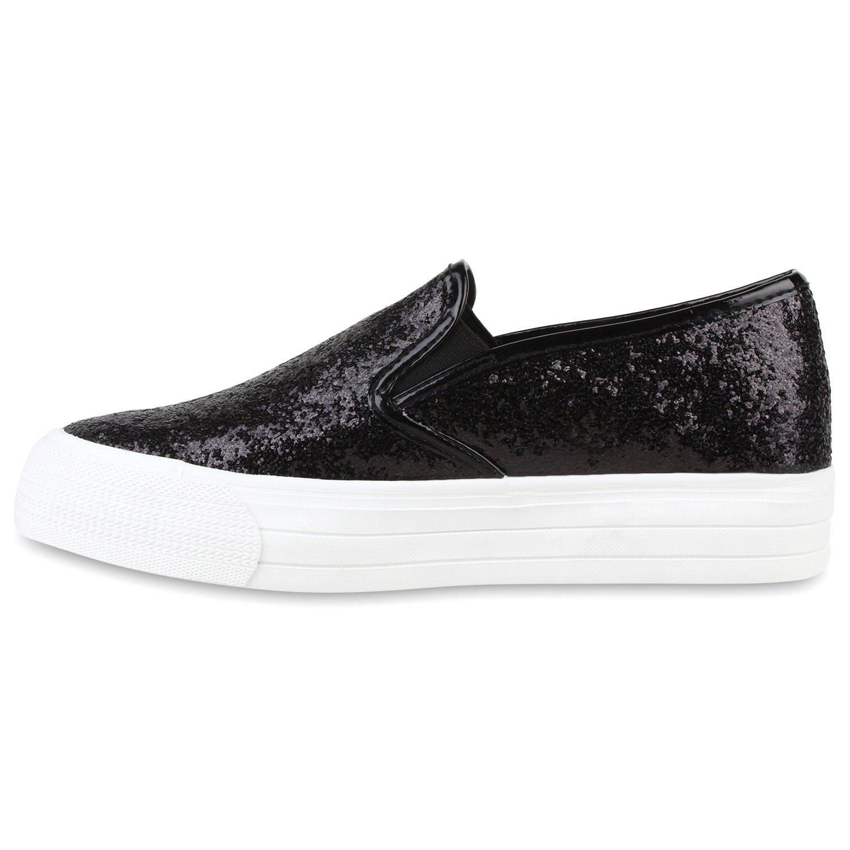 Japado Damen Schuhe Plateau Sneaker Slip-Ons Glitzer Metallic Sneakers Slipper Weiss 38 ZQ9ph