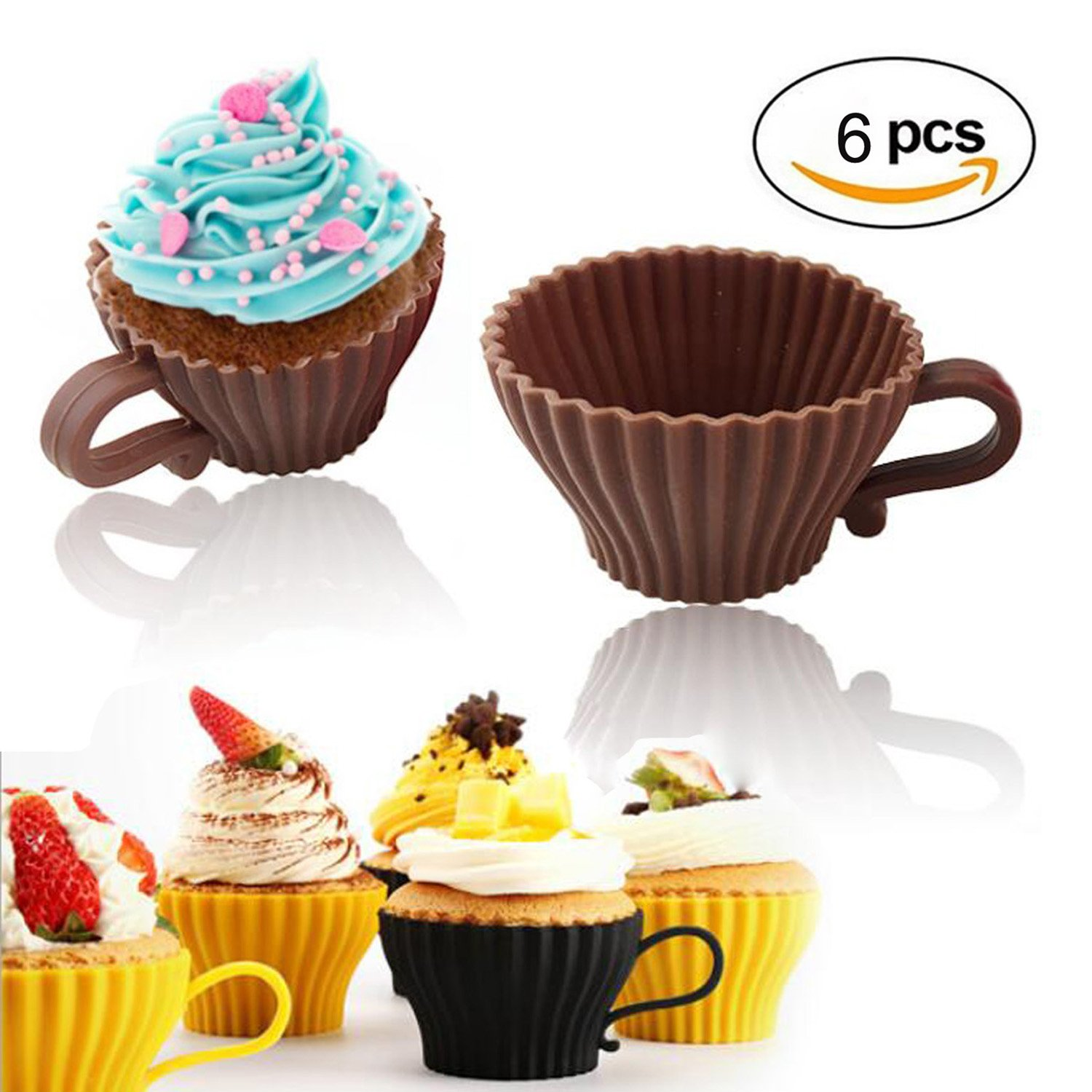6 Pieces Silicone Cake Mould Cakes Cups Muffin Snack Coffee Cups