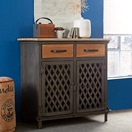 Jali Urban Industrial Metal Wood 2 Door Small Sideboard Dining Room Furniture