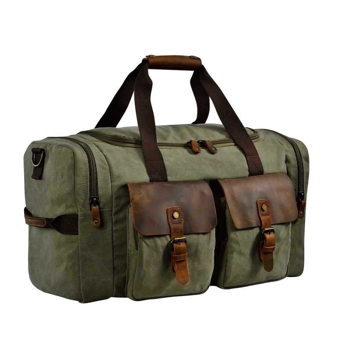 Kopack Duffle Bag Canvas Leather Overnight Bags For Men Weekend Travel Duffel Weekender Bags 22'' Oversized Amry Green