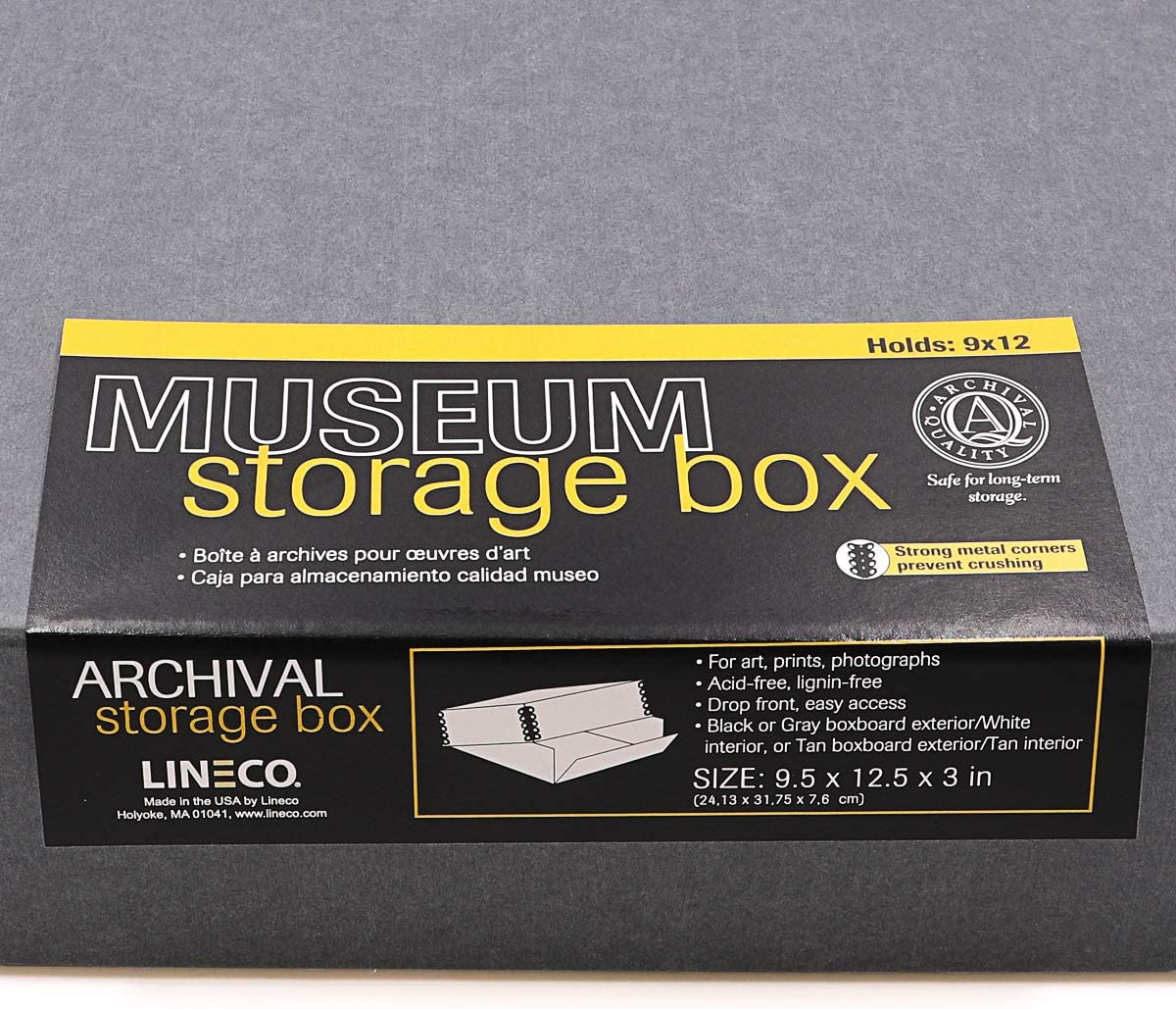 Black Exterior Lineco Museum Storage Box Removable Lid and Archival Drop Front Design Acid-Free with Metal Edge Lignin-Free Store Photos Documents Cards Magazines Prints 9.5 x 12 x 3 Inches