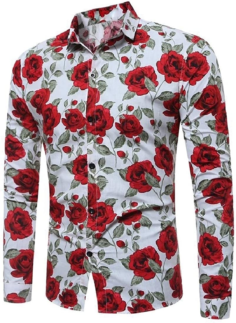 Highisa Mens Slim Fit Long-Sleeve Button Down Printing Floral Shirts