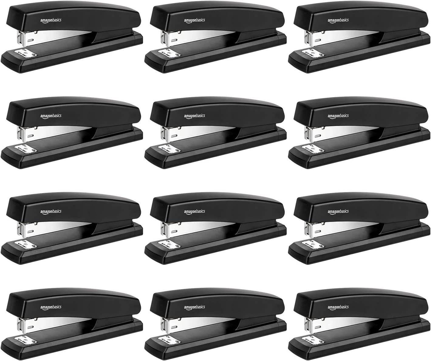 AmazonBasics 10-Sheet Capacity, Non-Slip, Office Stapler with 1000 Staples, Black - Pack of 12