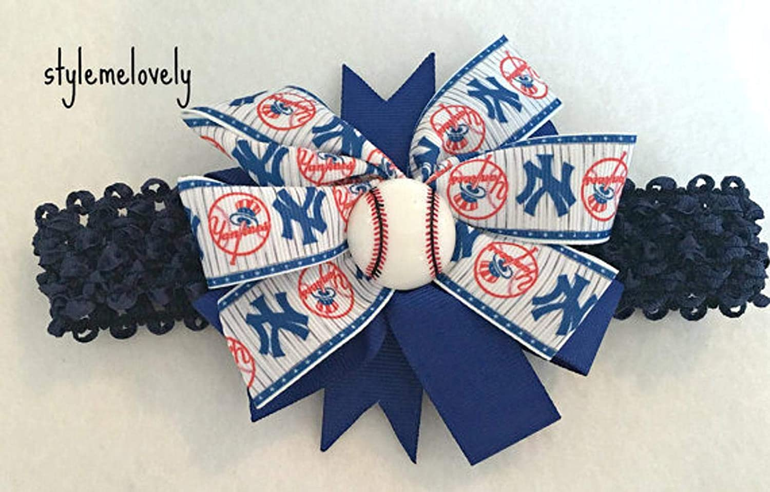New York Yankees Baby Girl Boutique Bow Crocheted Headband Adult Fits Newborn