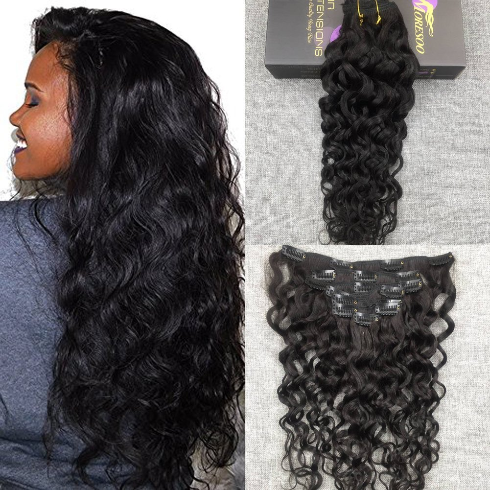 Moresoo 16 Inch Kinky Curly Clip on Human Hair Extensions Clip ins Human Hair Off Black #1B 7 Pieces 120 Grams Full Head Set Clip in Extension for Black Women Ltd
