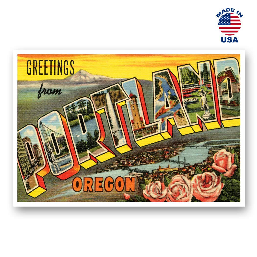 GREETINGS FROM PORTLAND, OR vintage reprint postcard set of 20 identical postcards. Large Letter Portland, Oregon city name post card pack (ca. 1930's-1940's). Made in USA.