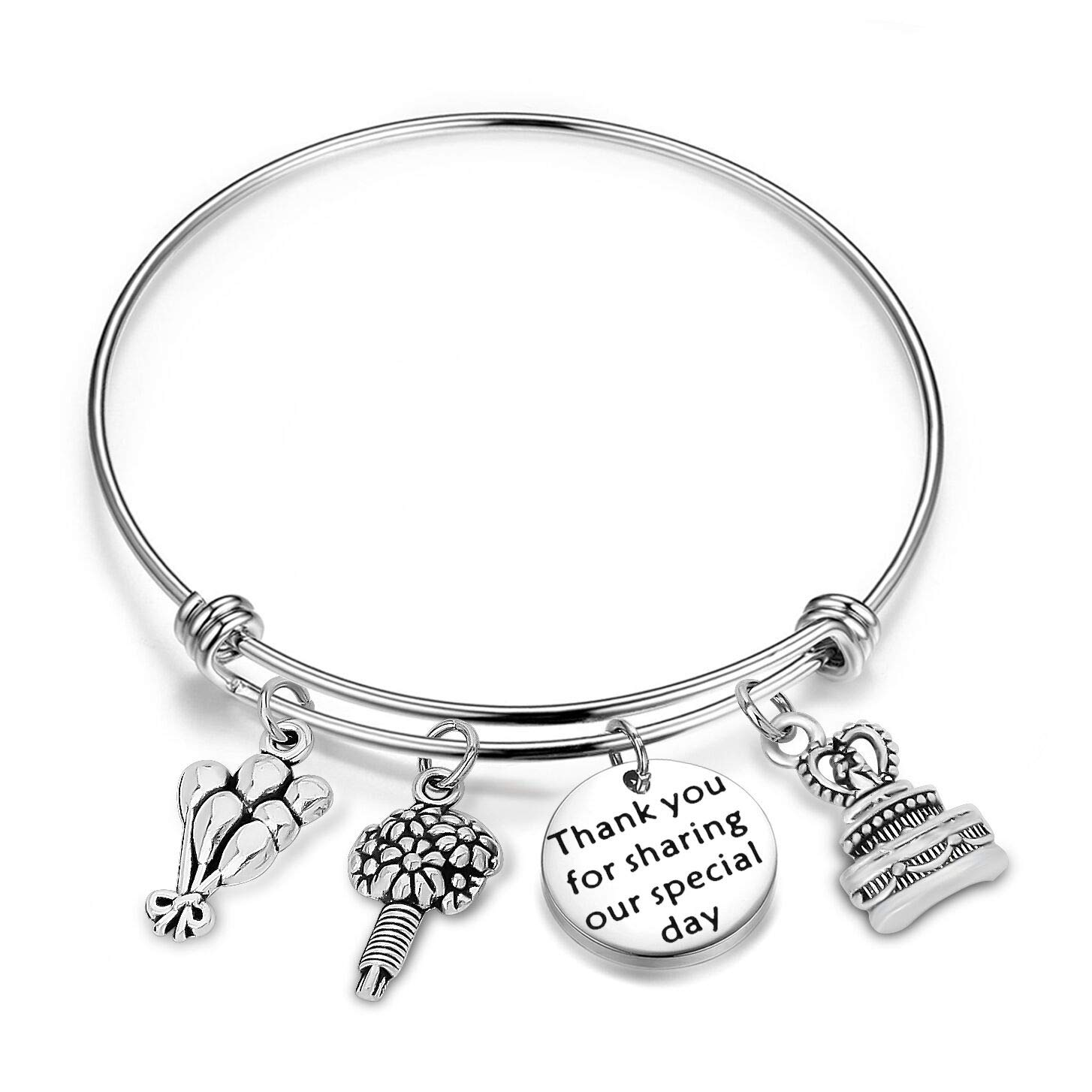 WUSUANED Thank You for Sharing Our Special Day Expandable Wire Bracelet Bangle Party Favor Gift for Wedding or Birthday (Wedding Favor Gift)