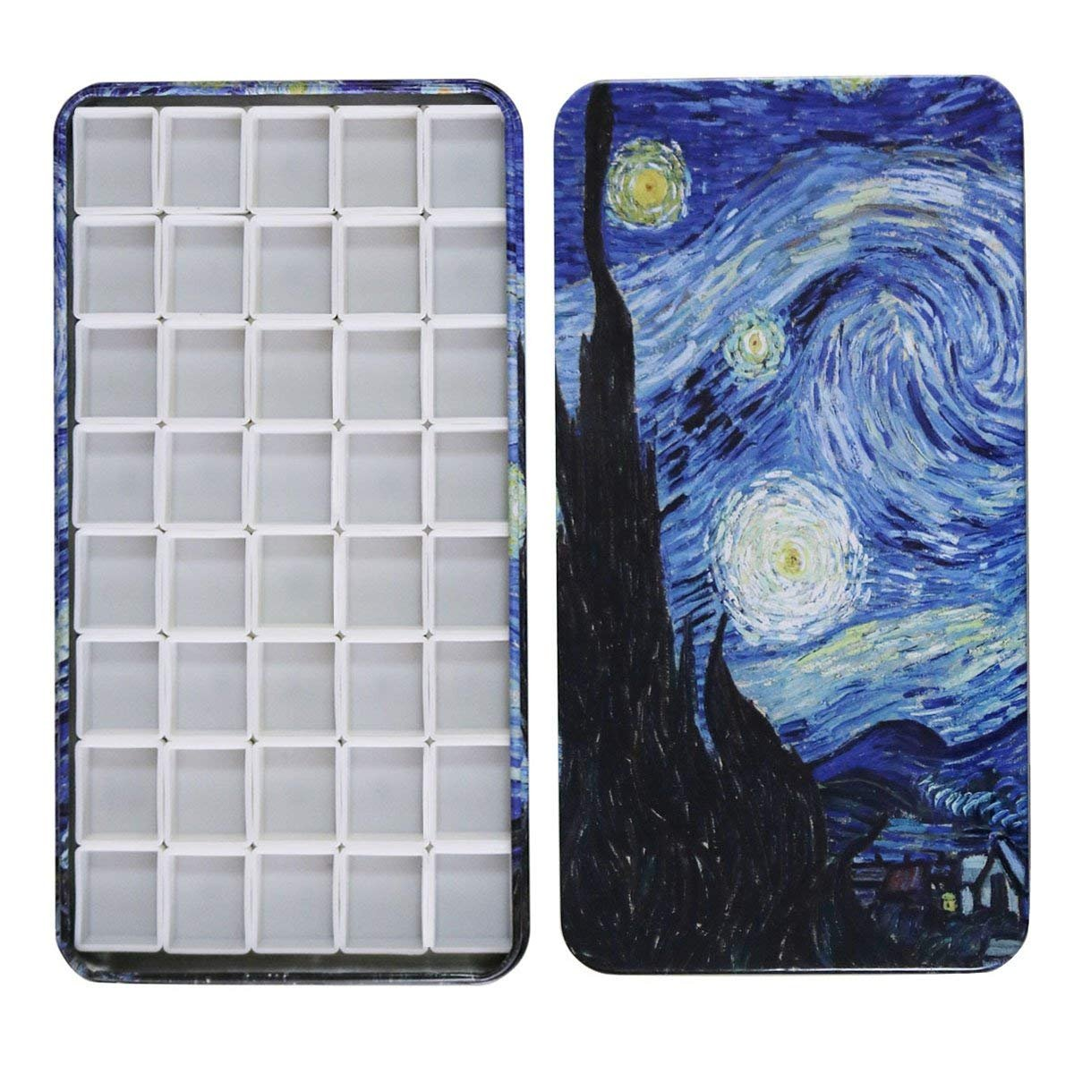 Fclub Watercolor Tins Palette Paint Case with 40Pcs Half Pans Carrying Magnetic Stripe on The Bottom - Starry Night by Vincent Van Gosh 4336974719