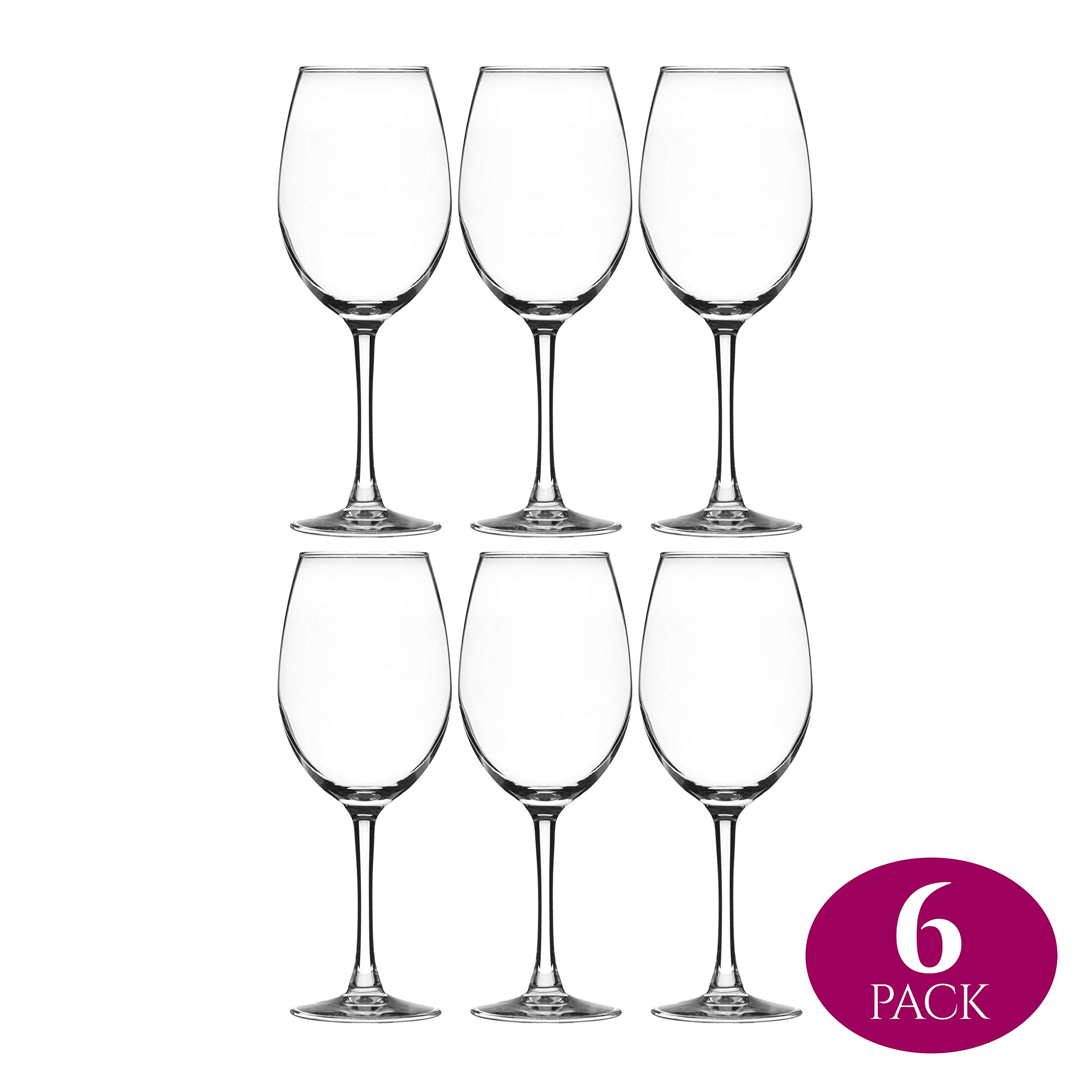 Element Drinkware Stemmed Wine Glass 16 Ounce | Crystal Clear Classic Design - Perfect for Red Wines & White Wines at Your Next Elegant Dinner Party or Event - Elongated Bowl Design Snifter - Set of 6 by Element Drinkware