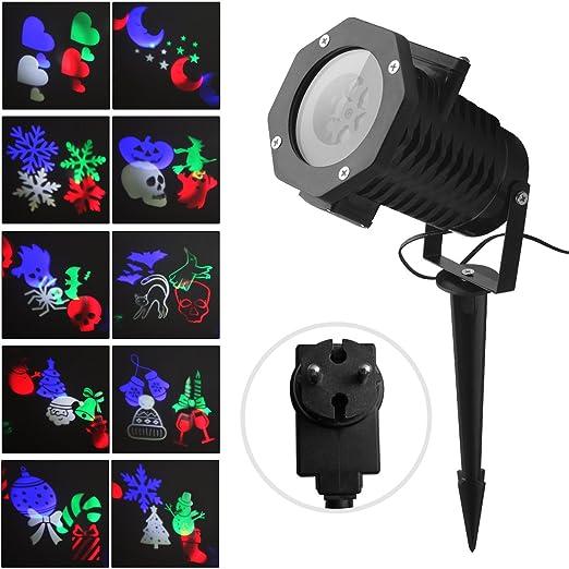 Proyector Luces Navidad Fochea IP65 Lámpara de Proyección Navideño LED Interior y Exterior con 10 Diapositivas (B)