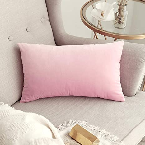 MIULEE Decorative Velvet Pillow Covers Soft Square Throw Pillow Covers  Soild Cushion Covers Pink Pillow Cases for Sofa Bedroom Car 12 x 20 Inch 30  x