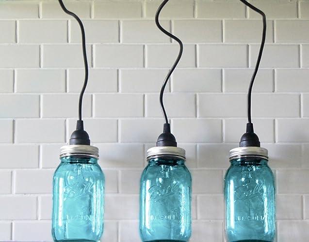 Amazon 3 hanging large blue mason jar pendant lights three 3 hanging large blue mason jar pendant lights three lights industrial farmhouse drop light aloadofball Gallery