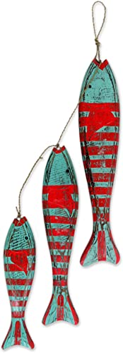 NOVICA Animal Themed Hand Carved Albesia Wood Hanging Fish Home Accent with Agel Grass Cord, Green and Red, Fish