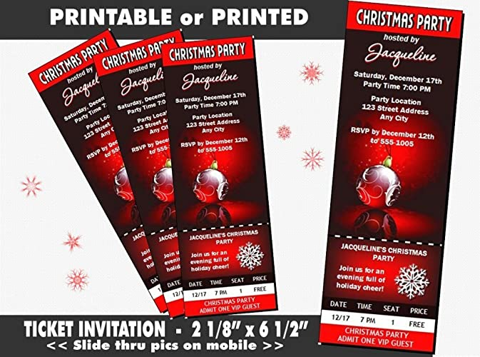 amazon com regal red christmas party ticket invitation printable