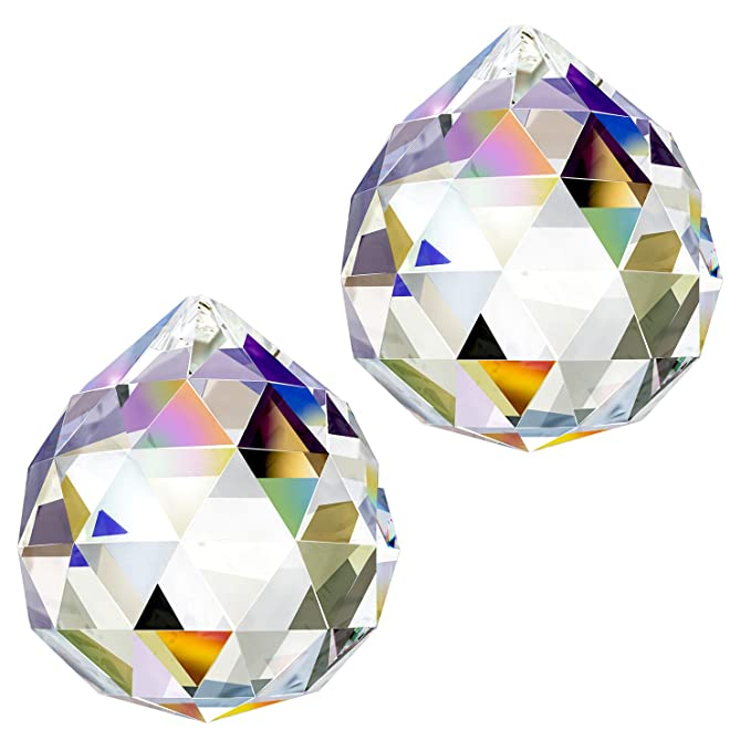 CandyHome Glass Crystal Ball Prism Pendant Feng Shui Crystals - Hanging Crystals Rainbow Prism Suncatcher for Window 40mm Pack of 2
